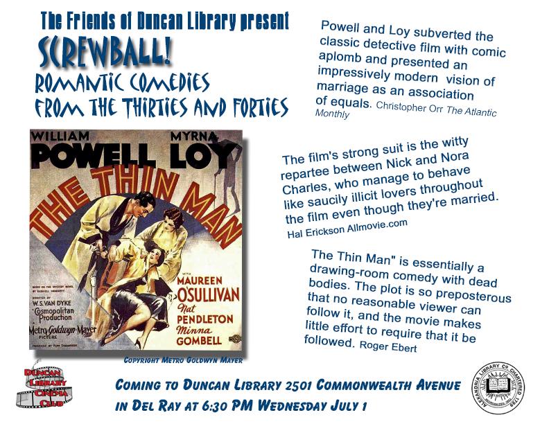 Screwball Comedy Film Series @ Duncan Library Meeting Room   Alexandria   Virginia   United States